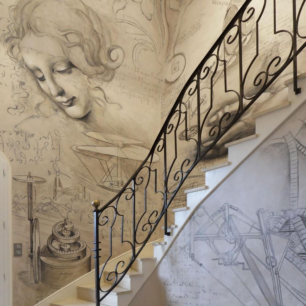 Fresque dans hall d'entrée maison bourgeoise